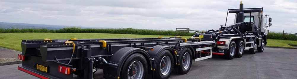 SkipMate Drawbar Trailers are Professionally Designed, and Built By Experts. The 24 tonne CHEM trailer is loaded from front or rear.